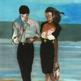 Beach Couple By Harry Weisburd