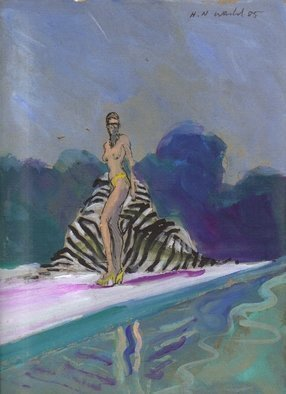 Artist: Harry Weisburd - Title: Bikini Babe with Zebra Towel by Pool - Medium: Watercolor - Year: 1985