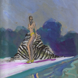 Bikini Babe with Zebra Towel by Pool By Harry Weisburd