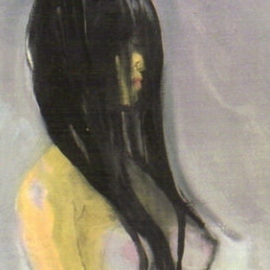 Harry Weisburd Artwork Black Wet Hair, 2007 Watercolor, Erotic