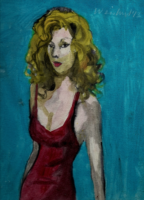 Harry Weisburd  'Blonde In Red Dress', created in 2014, Original Pottery.