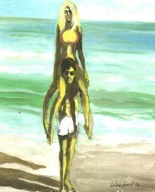 Artist: Harry Weisburd - Title: Blonde in Red Bikini  Fun on the Beach - Medium: Watercolor - Year: 2006