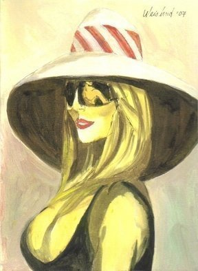 Artist: Harry Weisburd - Title: Blonde with Sunglass with Man Reflection - Medium: Watercolor - Year: 2007