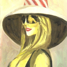 Blonde with Sunglass with Man Reflection By Harry Weisburd