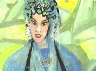 Artist: Harry Weisburd - Title: Chinese Opera Singer in Blue  - Medium: Watercolor - Year: 2006