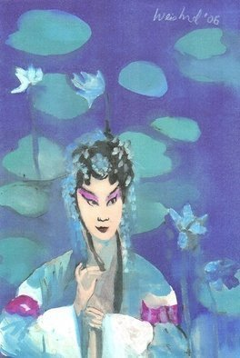 Artist: Harry Weisburd - Title: Chinese Opera Singer with Lotus Flowers - Medium: Watercolor - Year: 2007