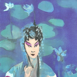 Chinese Opera Singer with Lotus Flowers By Harry Weisburd