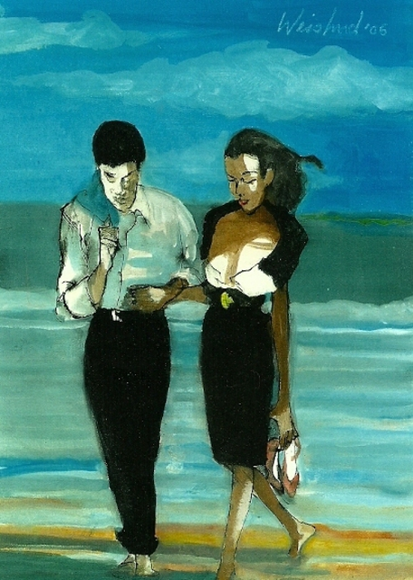 Harry Weisburd  'Couple In Black On The Beach 3D', created in 2006, Original Pottery.