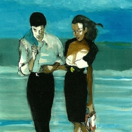 Couple In Black On The Beach 3D  By Harry Weisburd