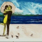 Couple On Beach With Birds By Harry Weisburd