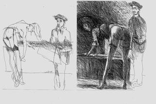 Harry Weisburd Artwork Degas Drawing Model Homage to Degas, 1994 Ink Drawing, Figurative
