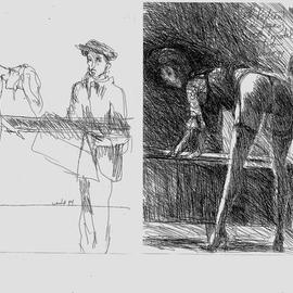 Degas Sketching Model Homage to Degas By Harry Weisburd