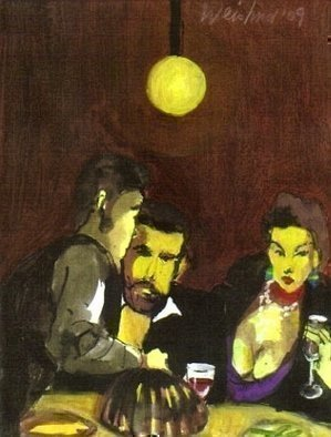 Harry Weisburd: 'Dinner For Two', 2009 Watercolor, People.  Dinner for Two Watercolor on Canvas ...
