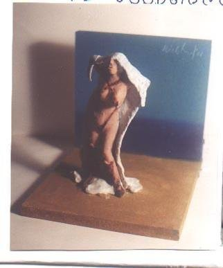Harry Weisburd: 'Figure with White Towel', 2001 Ceramic Sculpture, Erotic. erotic figure on the beach...