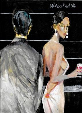 Harry Weisburd Artwork Happy Hour Love and Rmance, 2016 Watercolor, Figurative