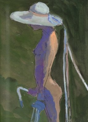 Artist: Harry Weisburd - Title: NUDE IN WHITE HAT WITH RIBBONS - Medium: Watercolor - Year: 1983