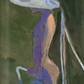 NUDE IN WHITE HAT WITH RIBBONS  By Harry Weisburd