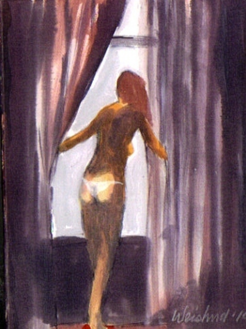 Harry Weisburd  'Nude With White Thong By Window', created in 2010, Original Pottery.