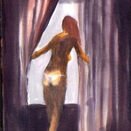 Nude With White Thong By Window