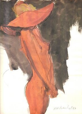 Artist: Harry Weisburd - Title: Nude in  Orange Hat - Medium: Watercolor - Year: 1983