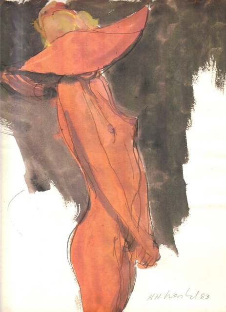 Harry Weisburd  'Nude In  Orange Hat', created in 1983, Original Pottery.