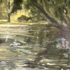 Harry Weisburd Artwork Pond Reflection, 2008 Acrylic Painting, Landscape