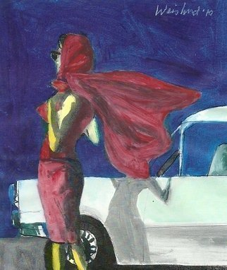 Artist: Harry Weisburd - Title: Populuxe Era Redux 50s Red Scarf 3D - Medium: Watercolor - Year: 2010