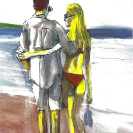 Red Bikini Couple On The Beach By Harry Weisburd