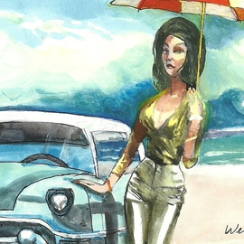 Harry Weisburd: 'Redux  1950s', 2011 Acrylic Painting, Figurative. Artist Description:  Redux 1950s Sexy erotic woman in 1950s style clothes with 1950s car at the beach with an umbrella         ...