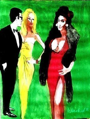 Harry Weisburd: 'The Other Woman ', 2016 Acrylic Painting, Figurative.        Envious woman looking at sensual sexy woman in red gown with man looking on  ...