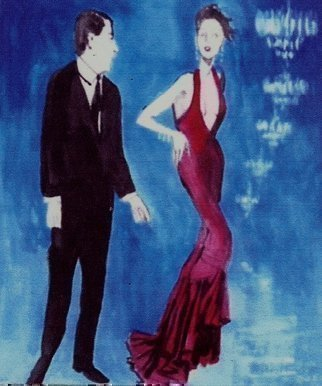 Artist: Harry Weisburd - Title: The Red Gown and Chandeliers - Medium: Watercolor - Year: 2015