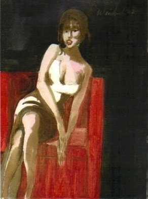 Artist: Harry Weisburd - Title: WOMAN IN A RED CHAIR - Medium: Watercolor - Year: 2007