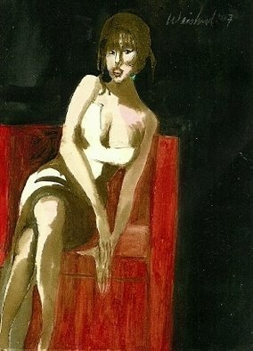 Artist: Harry Weisburd - Title: Waiting for Mr Right  3D - Medium: Watercolor - Year: 2012