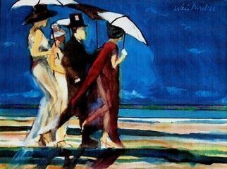 Harry Weisburd: 'Walk On The Beach ', 2013 Watercolor, Representational.       Group of people walking on the beach   .     ...