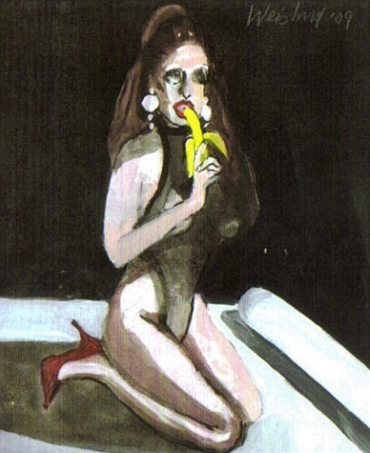 Harry Weisburd  'Woman Eating A Banana', created in 2010, Original Pottery.