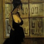Woman In Black Dress By Window Cityscape  By Harry Weisburd