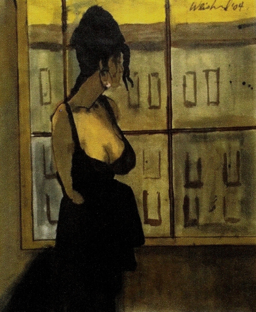 Harry Weisburd  'Woman In Black Dress By Window Cityscape ', created in 2015, Original Pottery.