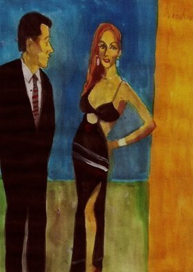 Artist: Harry Weisburd - Title: Woman In Black Dress With Man  - Medium: Watercolor - Year: 2015