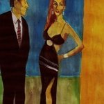 Woman In Black Dress With Man  By Harry Weisburd