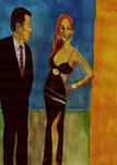 Artist: Harry Weisburd, 'Woman In Black Dress With Man '