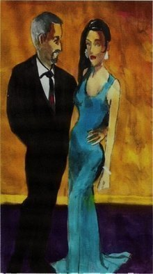 Artist: Harry Weisburd - Title: Woman In Blue Dress With Man  - Medium: Watercolor - Year: 2015
