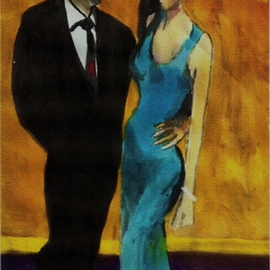 Woman In Blue Dress With Man