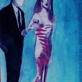 Woman In Pink Design Gown With Man By Harry Weisburd