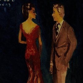 Woman In See Thru Red Gown  With Man   By Harry Weisburd