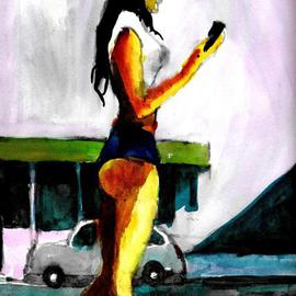 Woman In Short Shorts With Cell Phone  By Harry Weisburd