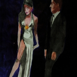 Woman In White Gown With Man