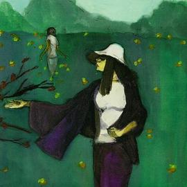 Woman In Yellow Poppy Field