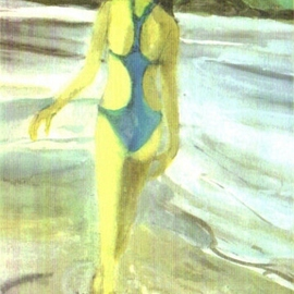 Woman Walking on the Beach By Harry Weisburd