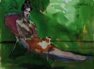 Harry Weisburd: 'Woman With Cat On Lap ', 2015 Watercolor, Cats. Artist Description:                              Woman with a cat on her lap sitting on a beach chair   ...
