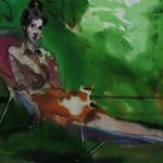 Woman With Cat On Lap  By Harry Weisburd